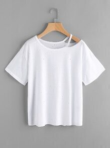 Ripped Neck Distressed Tee