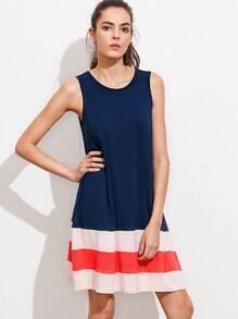 Cut And Sew Wide Stripe Hem Swing Tank Dress