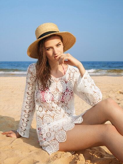 Crochet Lace Cover Up Dress