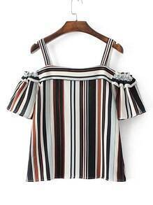 Cold Shoulder Vertical Striped Top