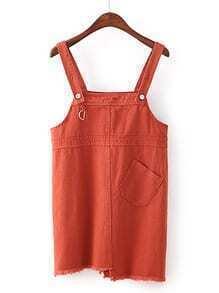 Raw Hem Denim Overall Dress