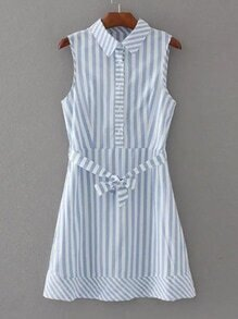 Vertical Striped Tie Waist Shirt Dress