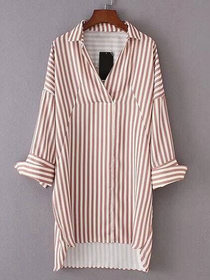 Vertical Striped High Low Shirt Dress