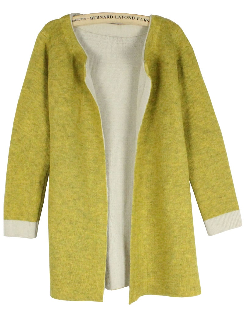 Plain Loose Knit Yellow CardiganFor Women-romwe