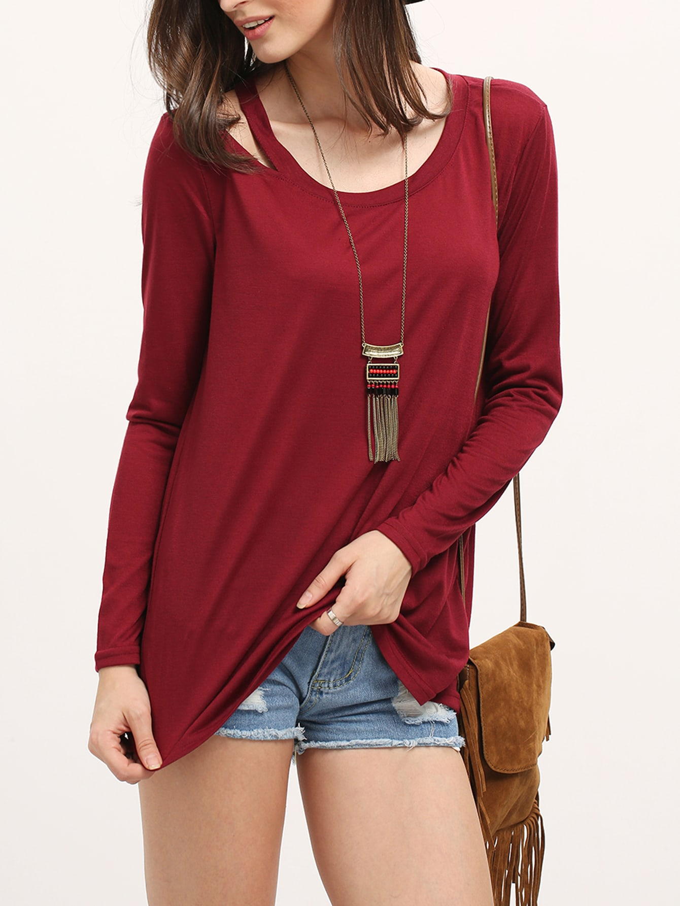 Open shoulder long sleeve burgundy t shirtfor women romwe for Burgundy long sleeve t shirt womens