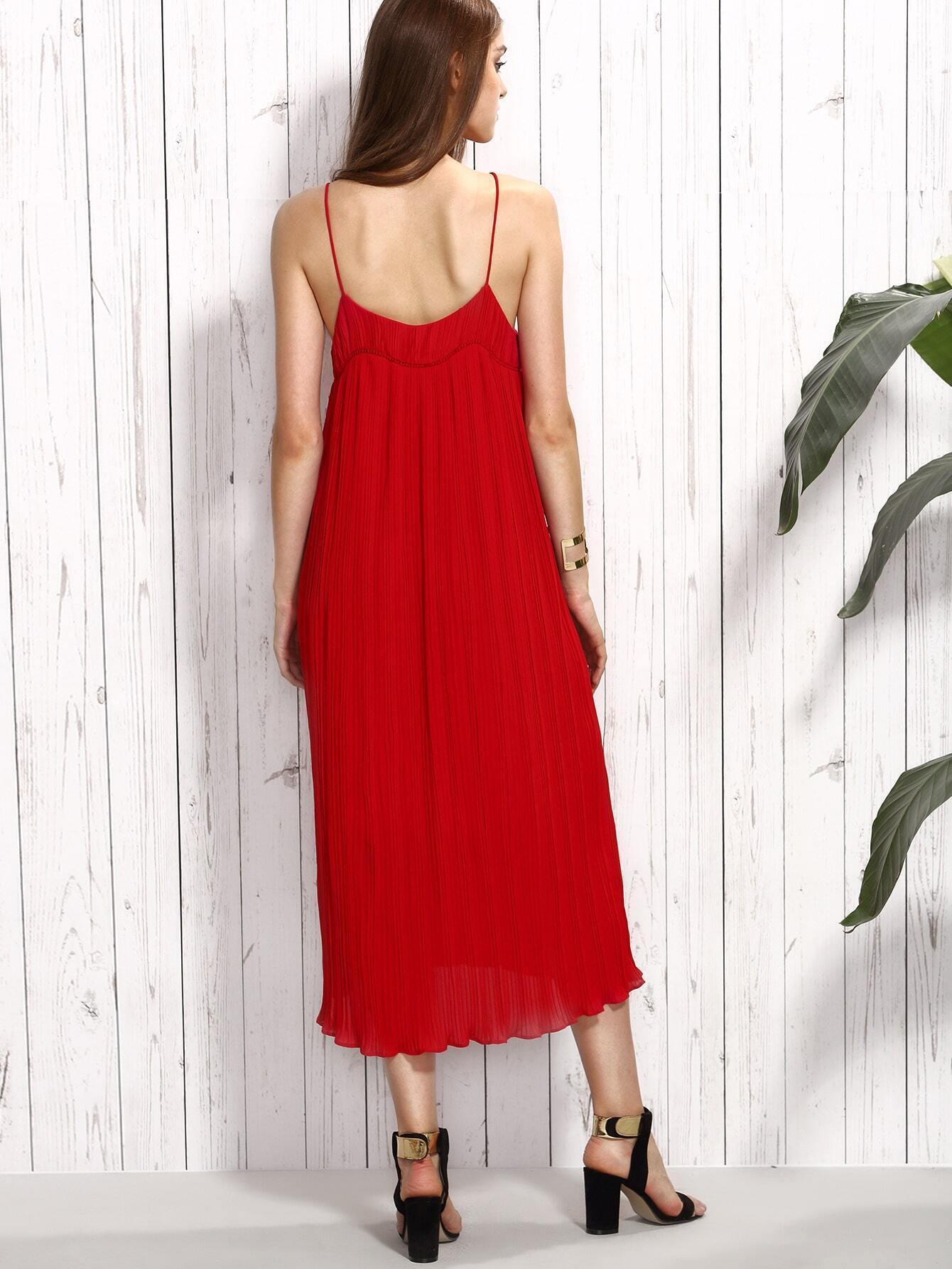 Vestido de tubo plisado de tirantes finos rojo spanish romwe for Tubo corrugado rojo precio