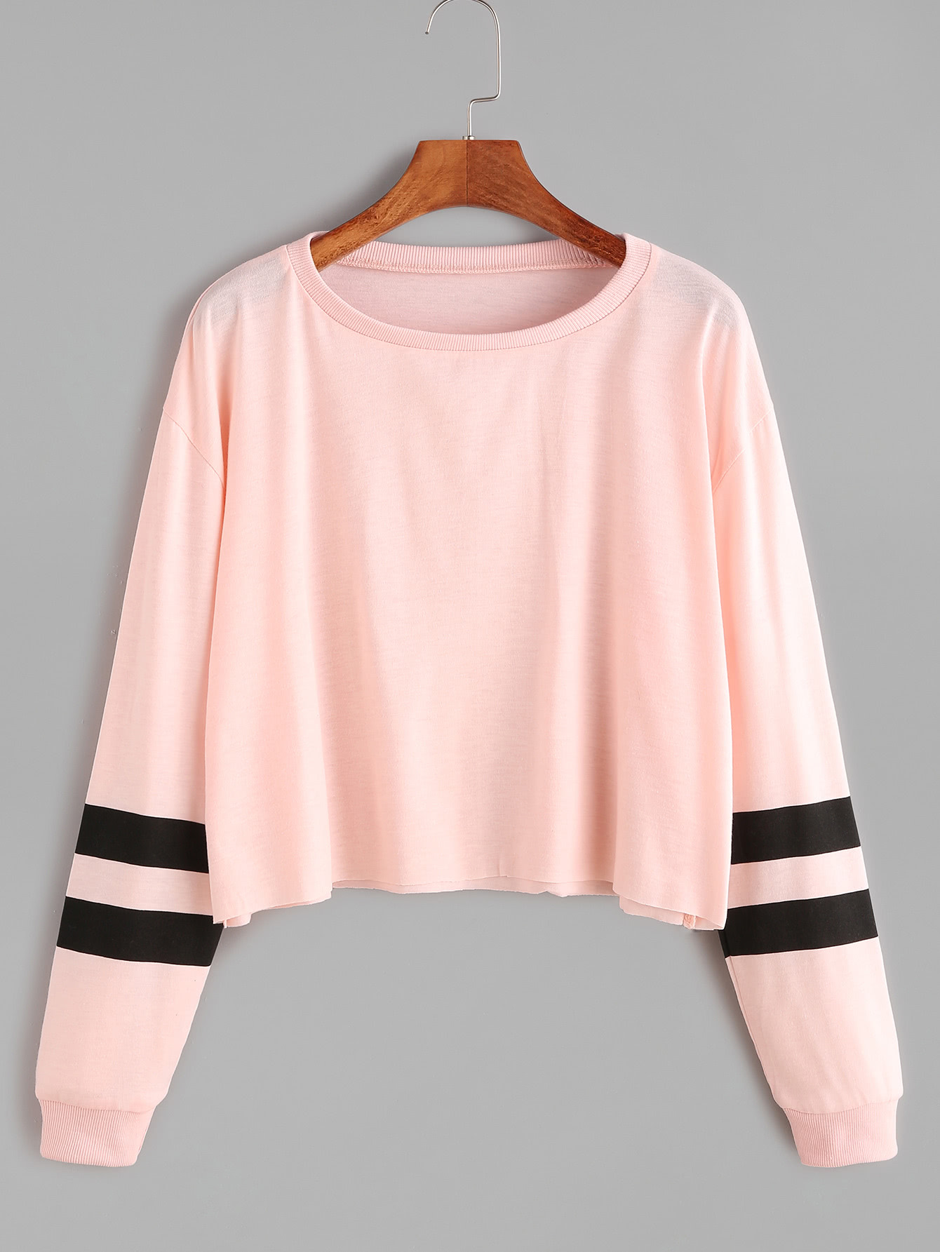 pink varsity striped sleeve crop t shirtfor women romwe. Black Bedroom Furniture Sets. Home Design Ideas