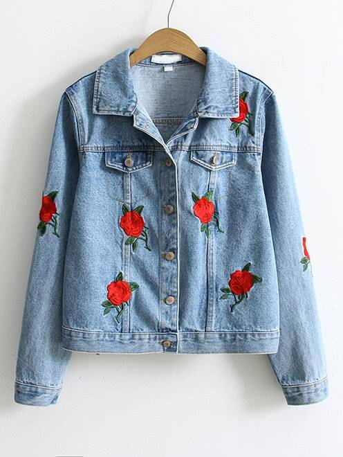 Blue flower embroidery single breasted denim jacketfor women romwe ccuart Images