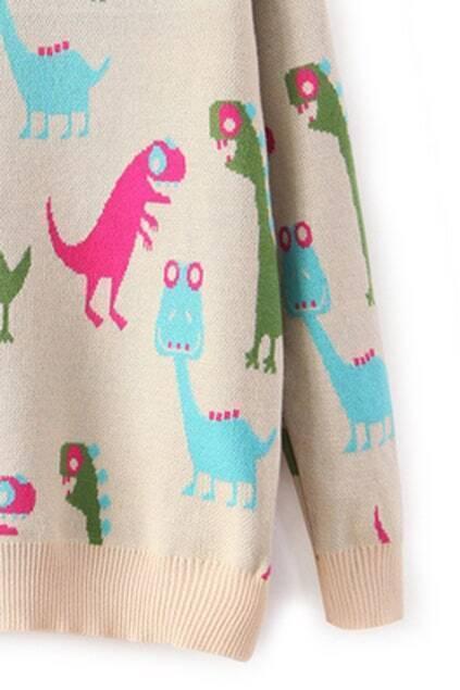 Cute Dinosaur Print Knitted Cream Jumper