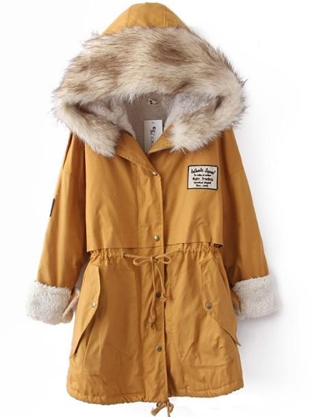 Faux Fur Hooded Drawstring Yellow Coat