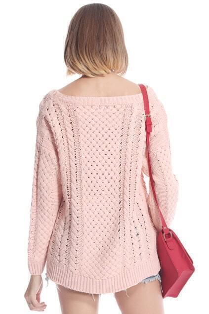 Asymmetric Cut Out Pink Jumperfor Women Romwe