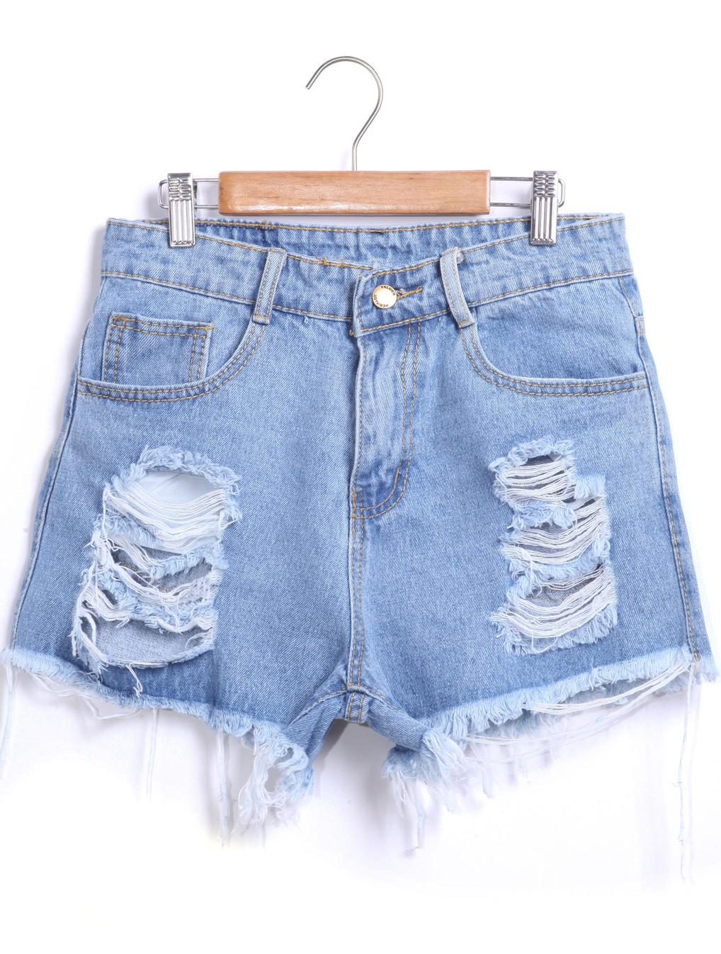 Blue Ripped Fringe Denim ShortsFor Women-romwe