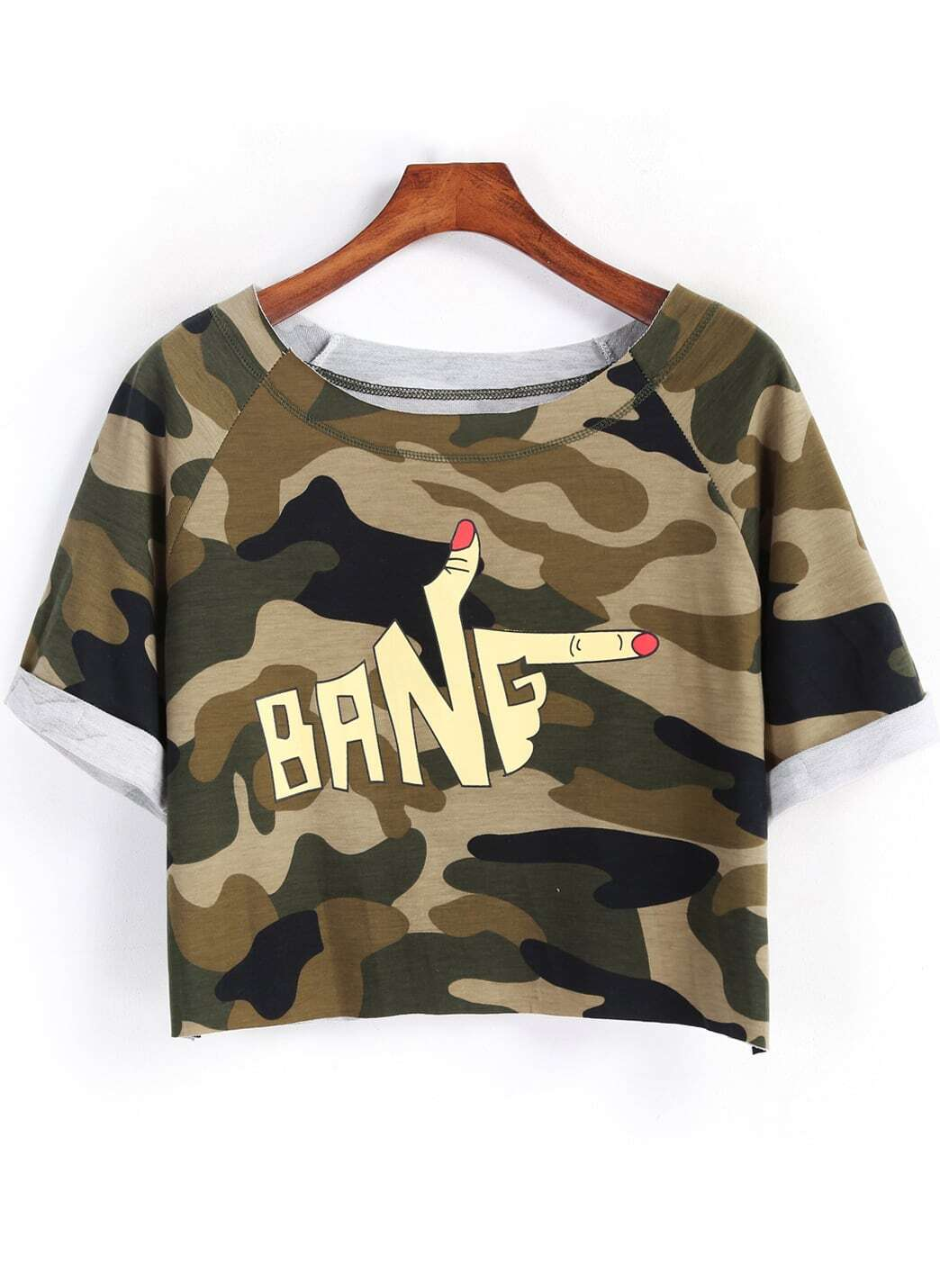 Army green short sleeve camouflage print crop t shirt for Camouflage t shirt printing
