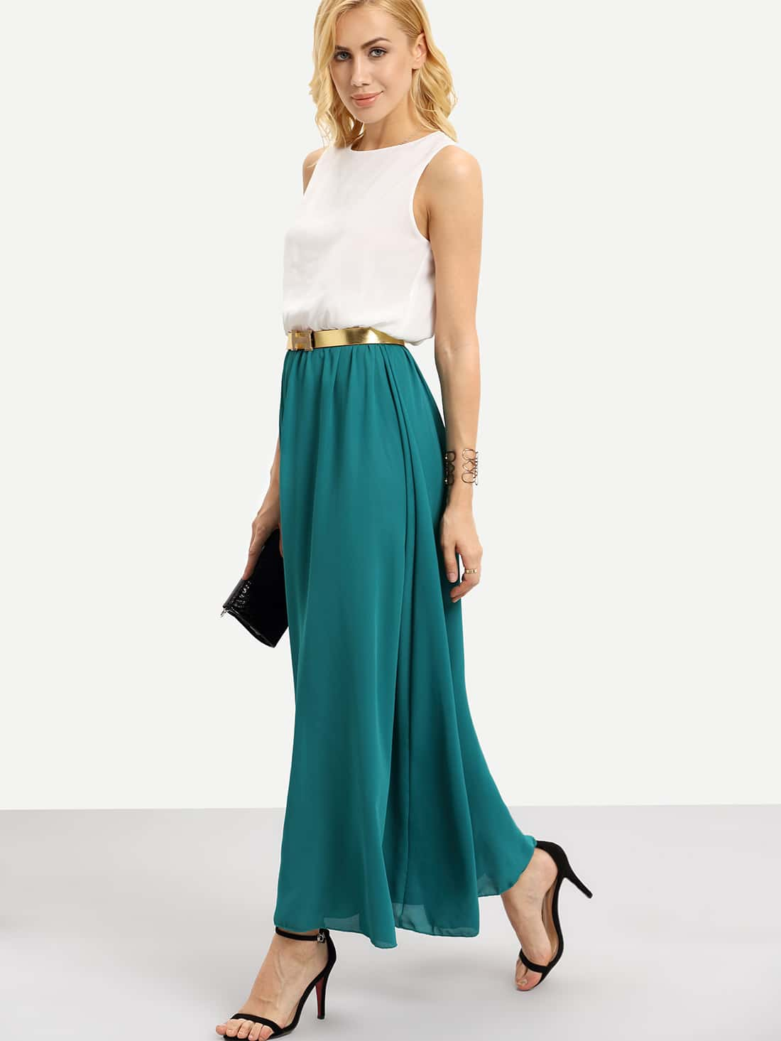 color block with belt chiffon maxi dress