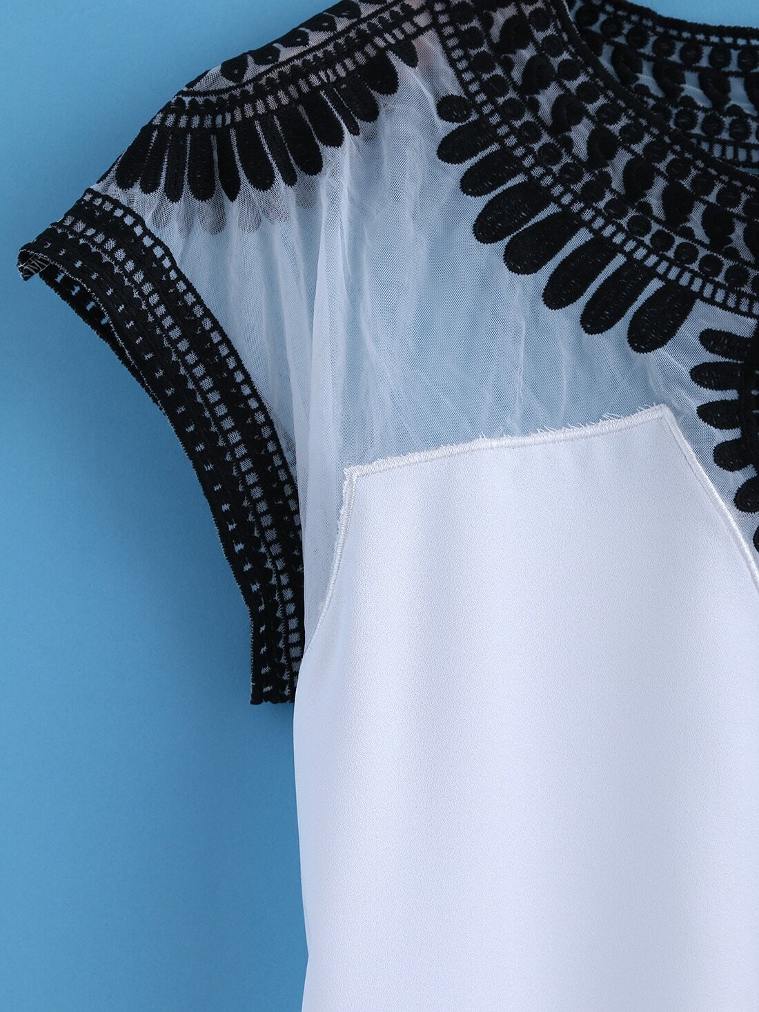 White round neck embroidered mesh t shirtfor women romwe for Embroidered mesh t shirt