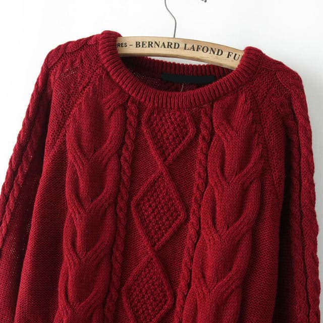 Cable Knit Loose Wine Red SweaterFor Women-romwe