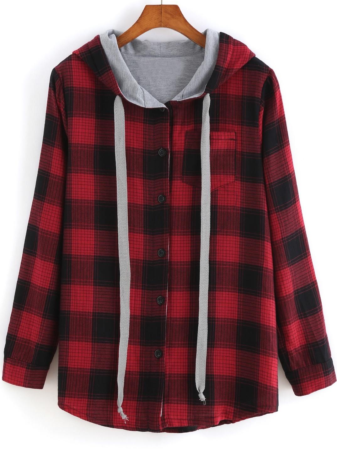 Red Hooded Long Sleeve Plaid Pocket Sweatshirtfor Women Romwe