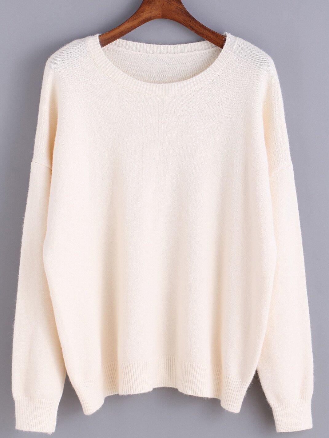 Round Neck Sweater Knitting Pattern : Round Neck Knit Beige Sweater