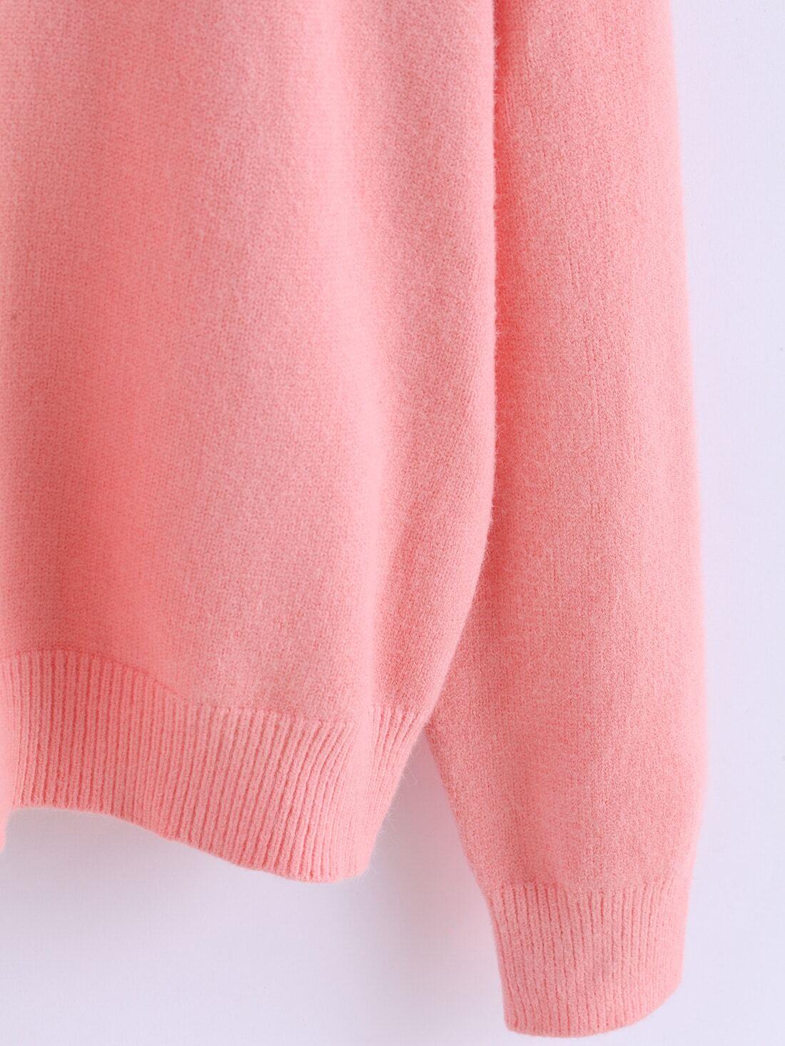 Round Neck Knit Pink Sweater