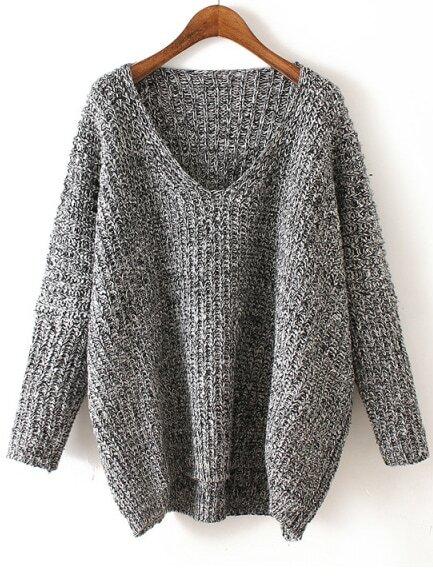 V Neck Chunky Knit Black And Grey Dolman SweaterFor Women-romwe