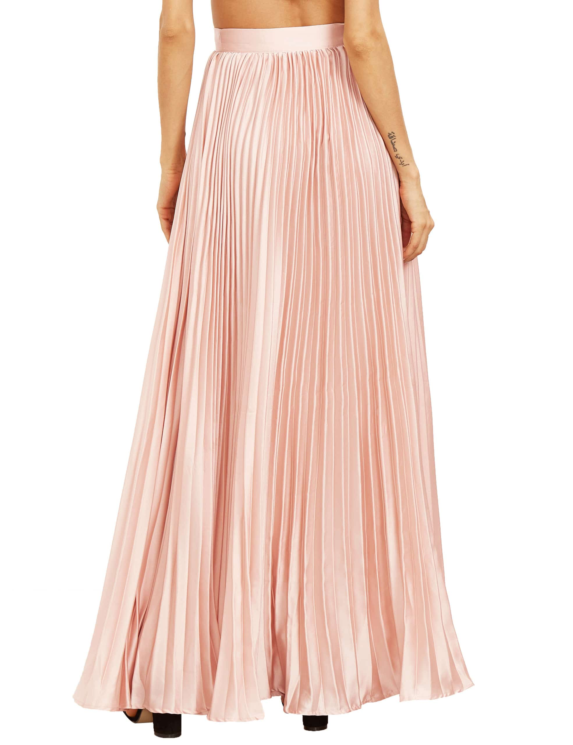 pink pleated maxi skirtfor romwe