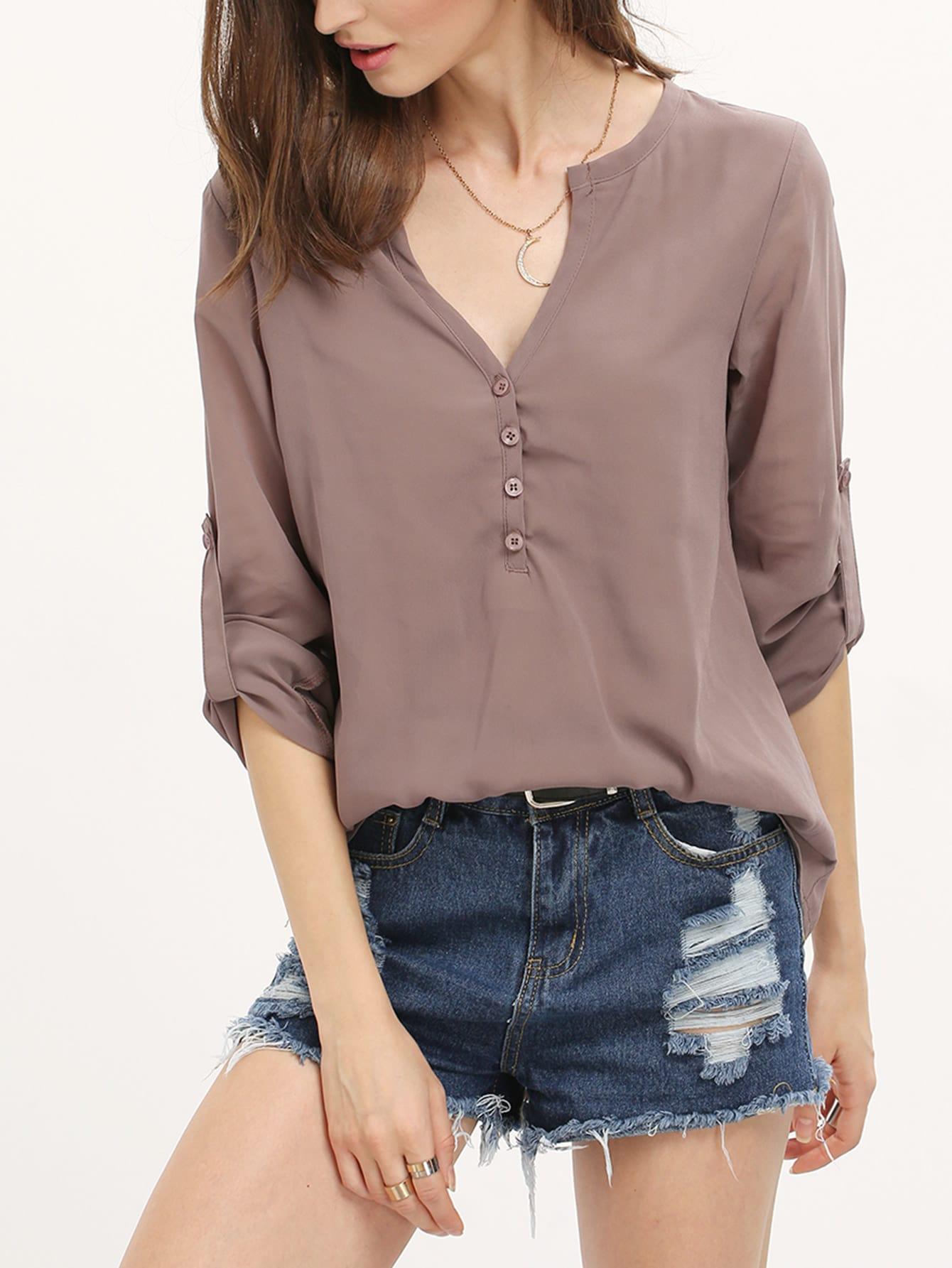 Popular Womens Plain Turndown Collar Lace Up Long Sleeve Chiffon Blouse Brown - PINK QUEEN