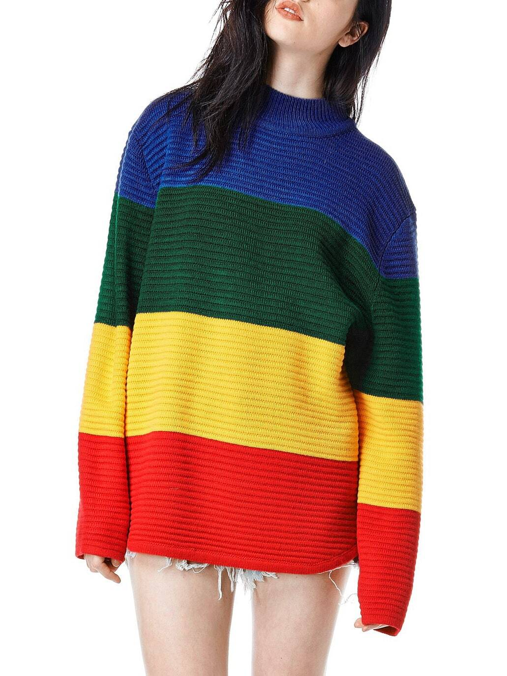 Color-block Long Sleeve SweaterFor Women-romwe