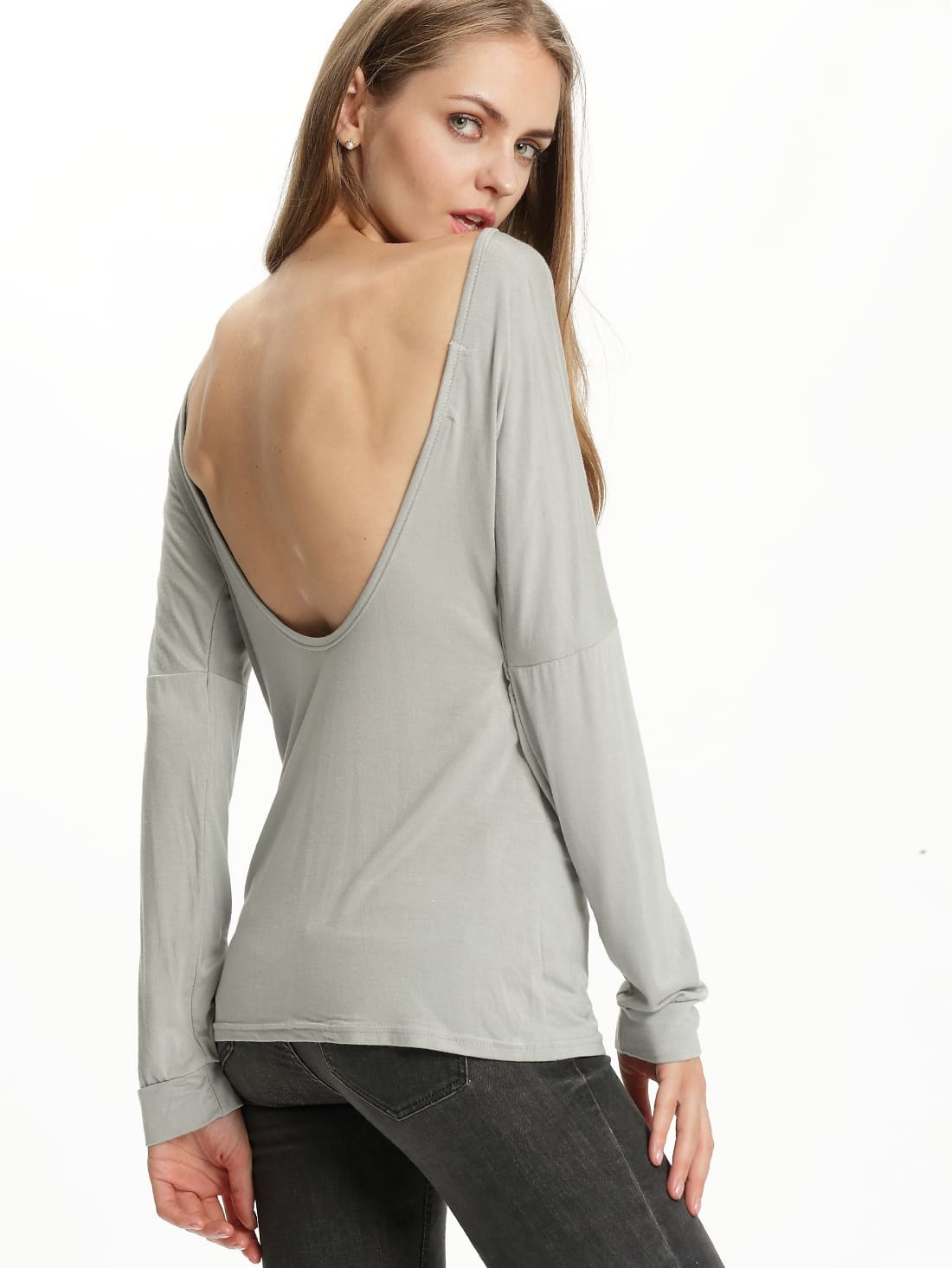 Long sleeve open back grey t shirtfor women romwe for Long sleeve open shirt
