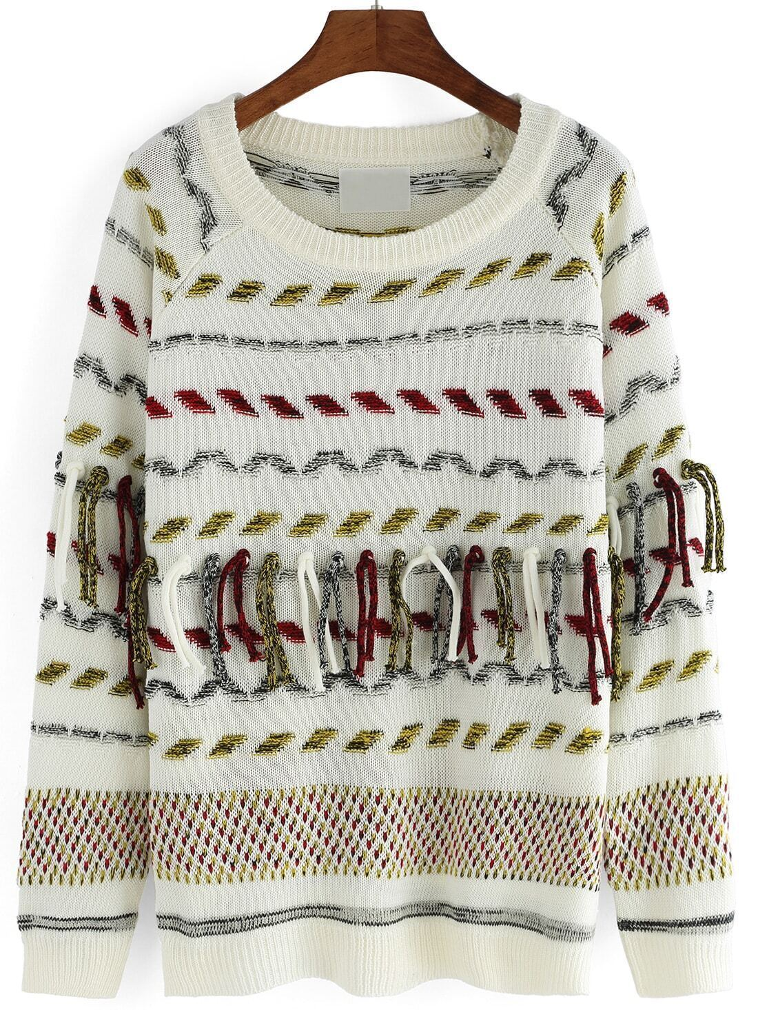 Round Neck Striped Ribbon Loose SweaterFor Women-romwe