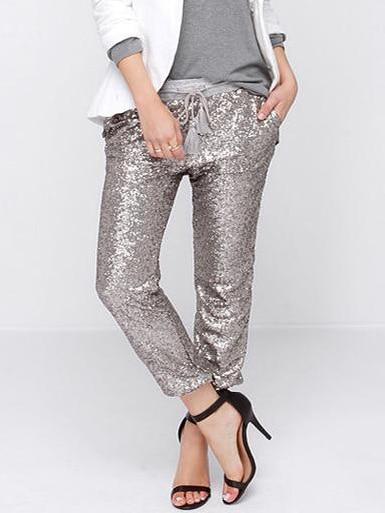 Women Silver Sequin Elastic Waist Casual Pants