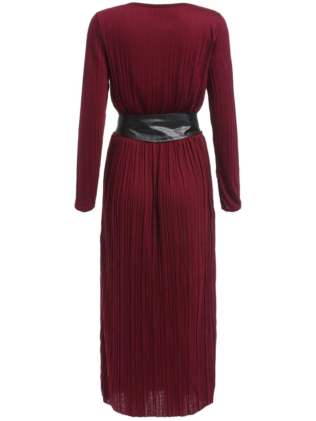 sleeve belt pleated burgundy dressfor romwe