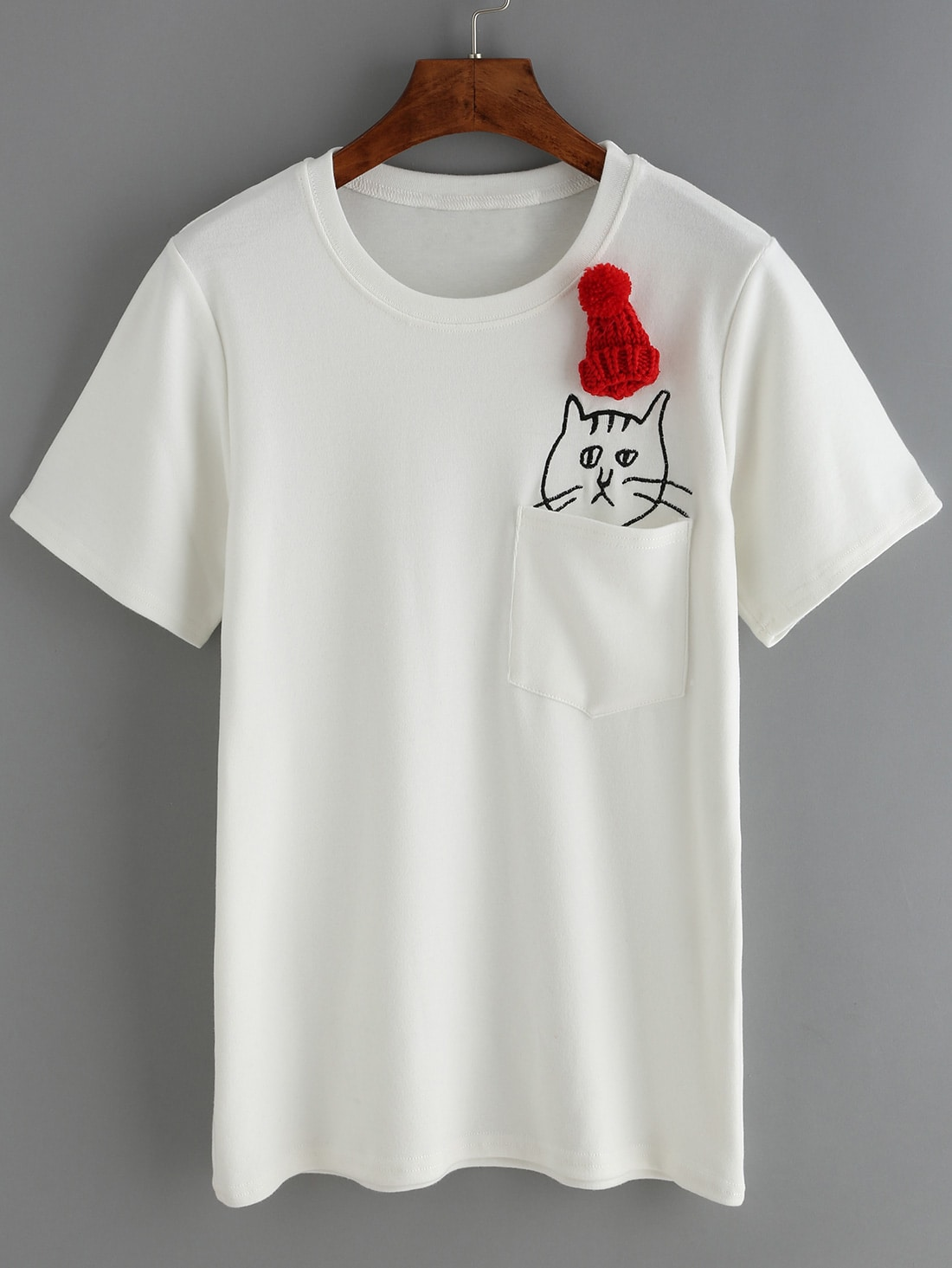 Hat cat embroidered t shirtfor women romwe