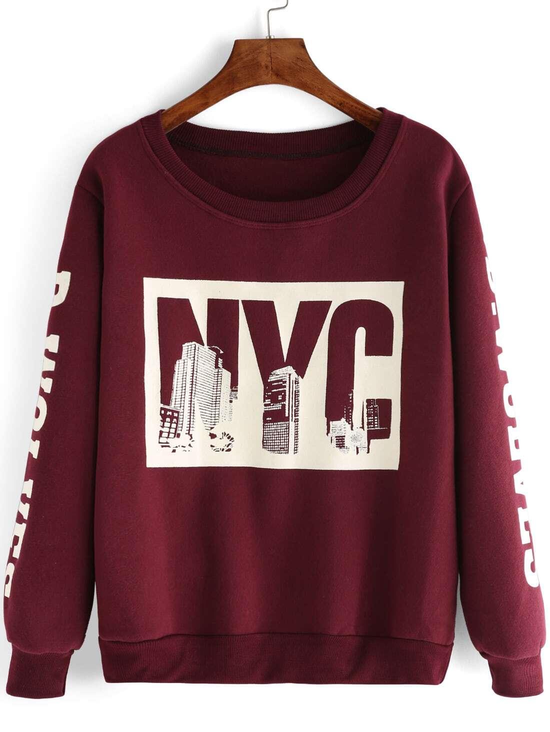 Letter print maroon sweatshirtfor women romwe for Letters for sweatshirts