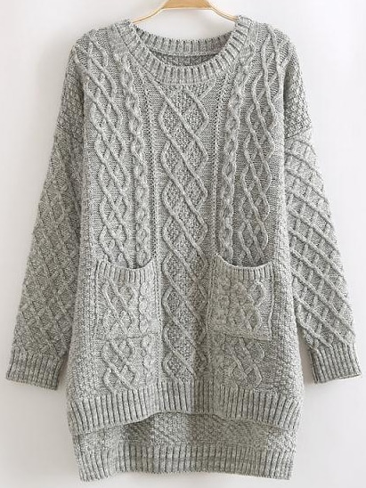 Knitting Patterns For Sweaters In The Round : Grey Round Neck Dip Hem Cable Knit Pockets Sweater