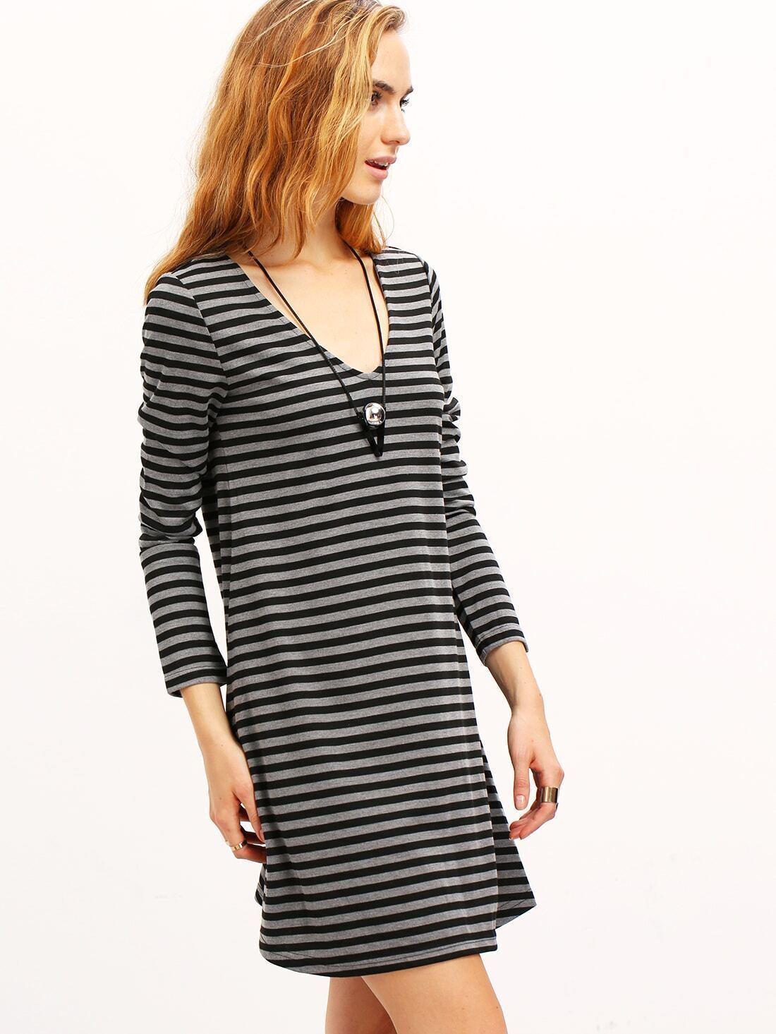 Grey striped t shirt dressfor women romwe Grey striped t shirt