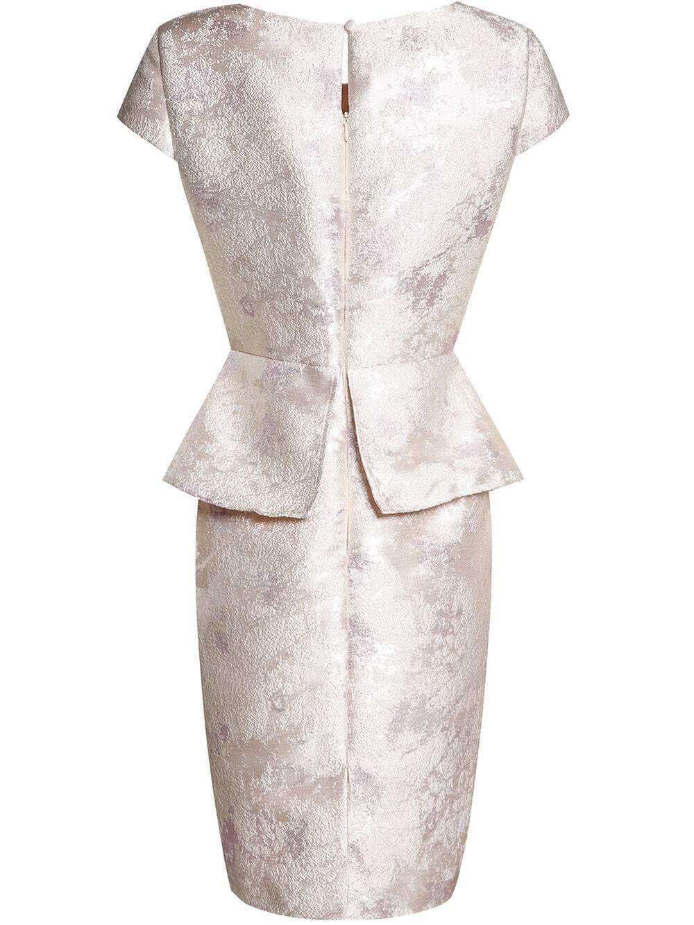 Plus Size Lace Nude Irregular Layered Peplum Dress - Sheinline