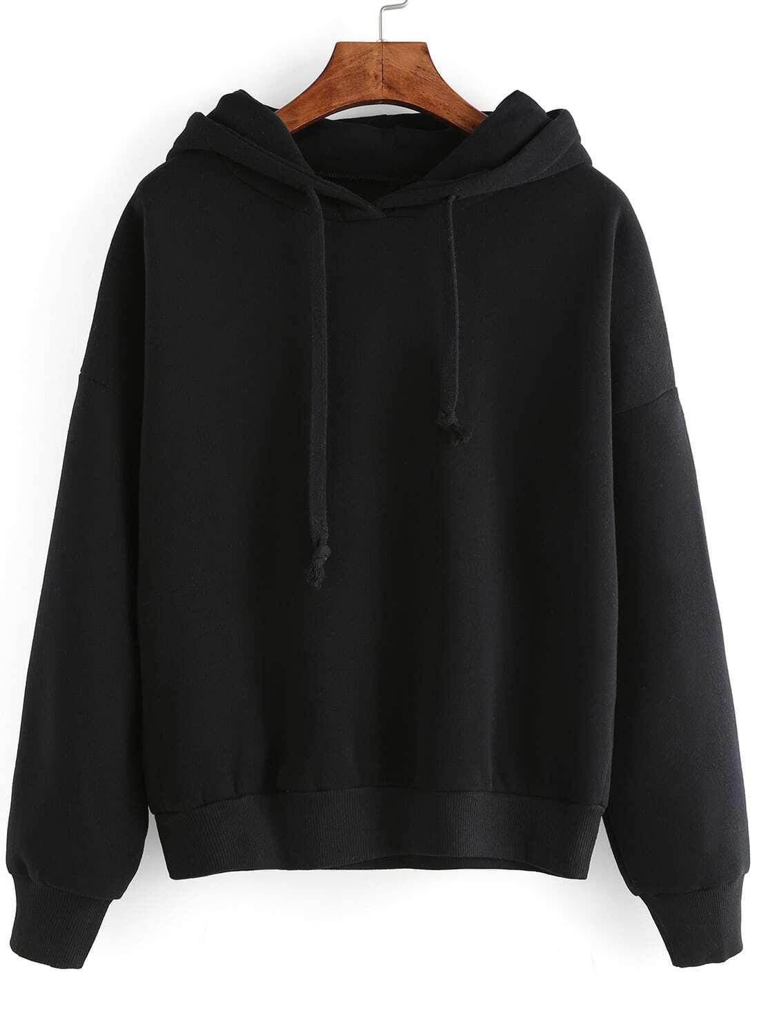 Black Hooded Long Sleeve Crop SweatshirtFor Women-romwe