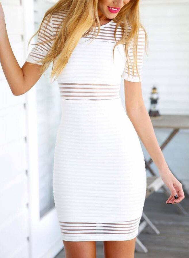 white short sleeve sheer striped bodycon dressfor women romwe. Black Bedroom Furniture Sets. Home Design Ideas