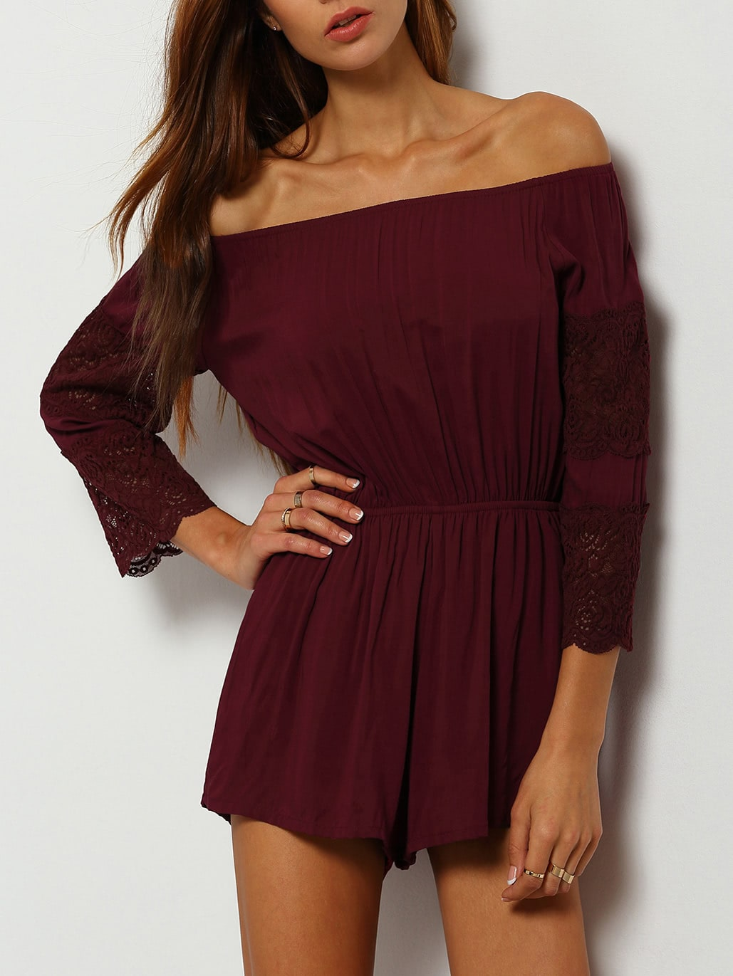 burgundy off the shoulder lace embellished jumpsuitfor. Black Bedroom Furniture Sets. Home Design Ideas