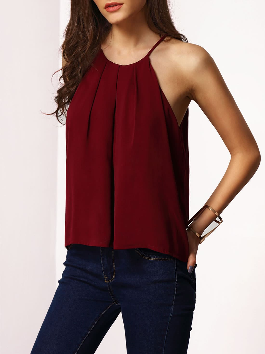 Burgundy Striped Crop Cami Top % QUICK VIEW + Burgundy Spaghetti Strap Lace-up Cami Top. out of stock. Burgundy Spaghetti Strap Lace-up Cami Top % QUICK VIEW + Burgundy Velvet Overlap Top With Choker. out of stock. Burgundy Velvet Overlap Top With Choker %.