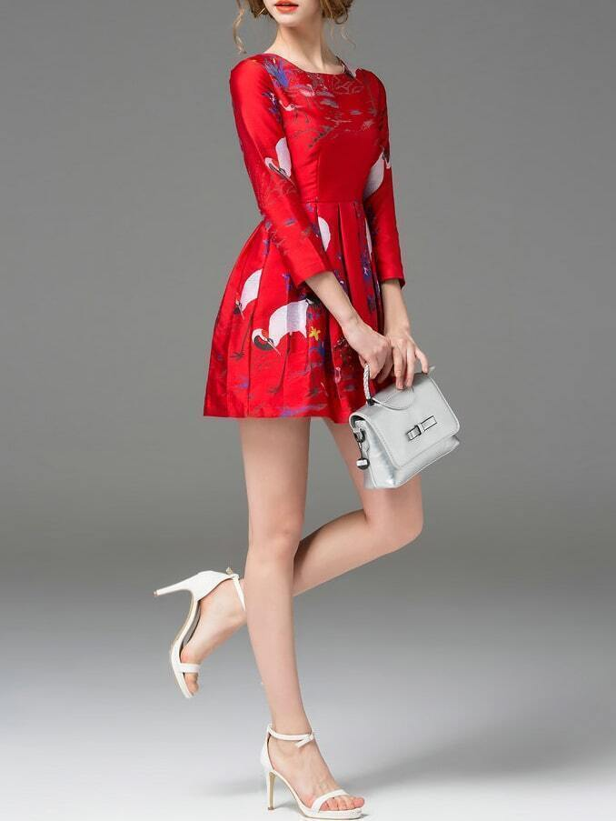 Red Crane Jacquard Pleated A Line Dressfor Women Romwe