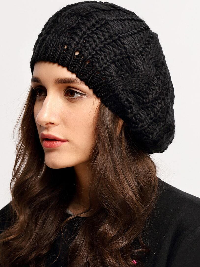 Loose Beret Knitting Pattern : Black Knit Ski Loose Beret