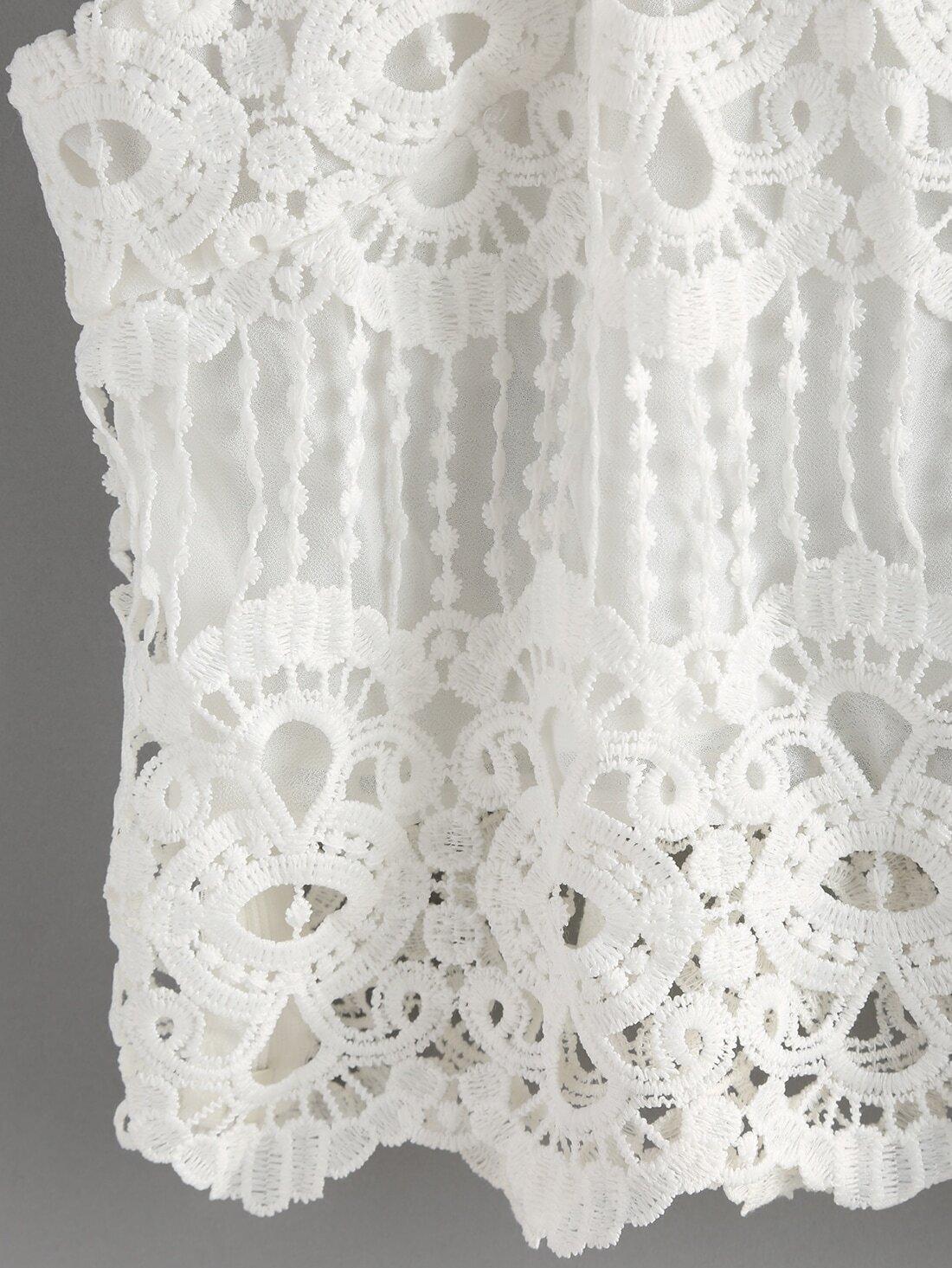 top bretelle en dentelle et crochet french romwe. Black Bedroom Furniture Sets. Home Design Ideas