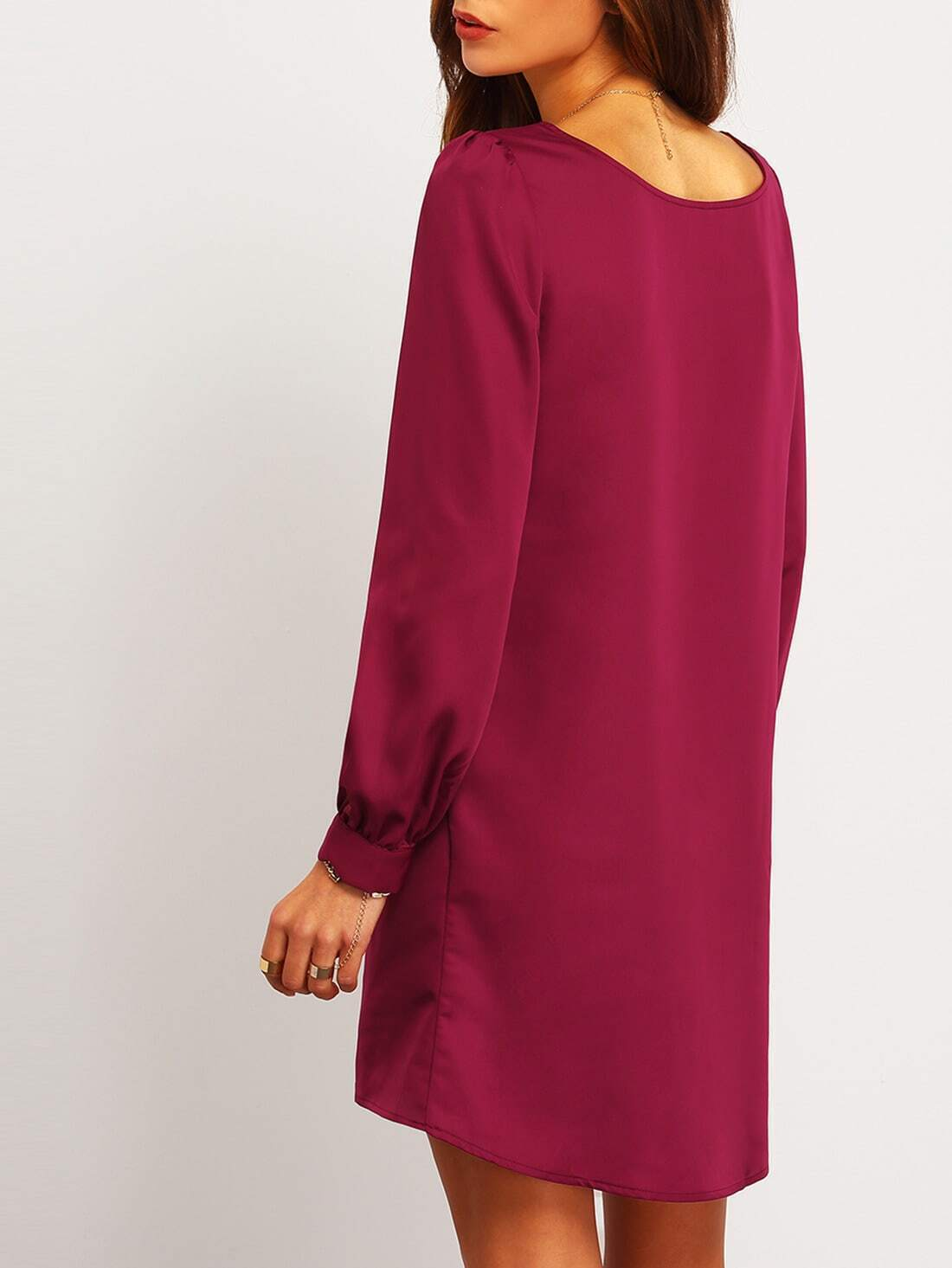 purple long sleeve casual dress