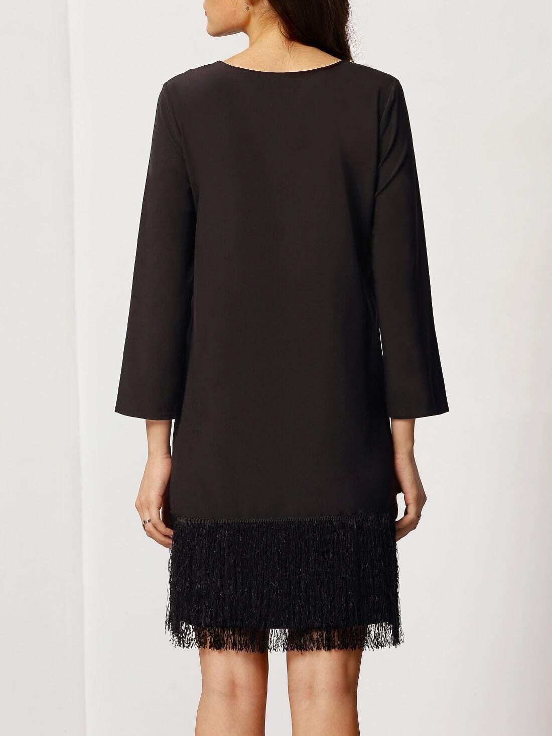 robe franges manches longues noir. Black Bedroom Furniture Sets. Home Design Ideas