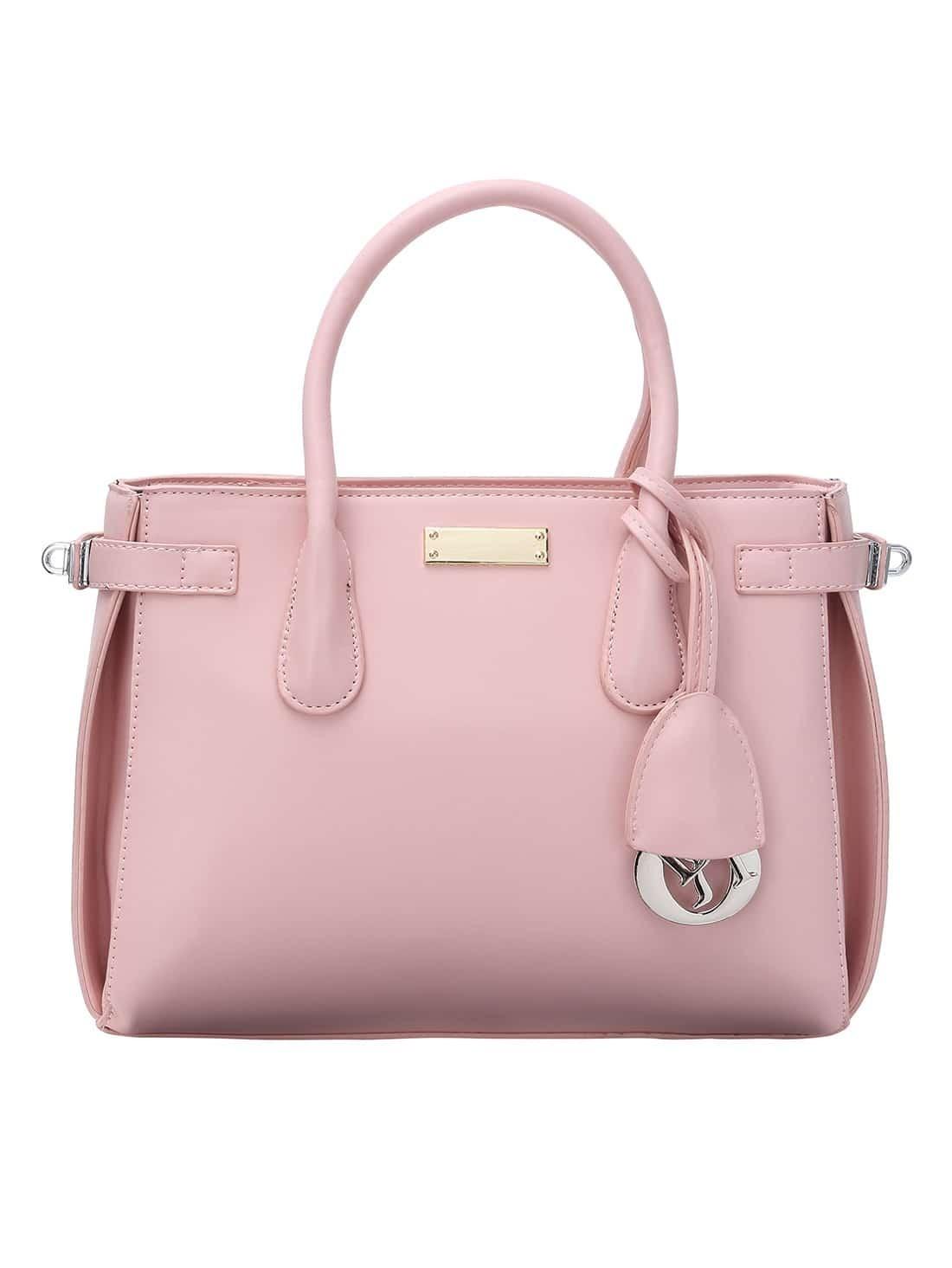 top zip side turn lock pink double tote bag. Black Bedroom Furniture Sets. Home Design Ideas