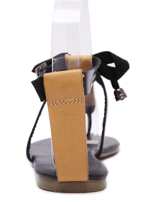 sandale plate forme avec n ud noir french romwe. Black Bedroom Furniture Sets. Home Design Ideas