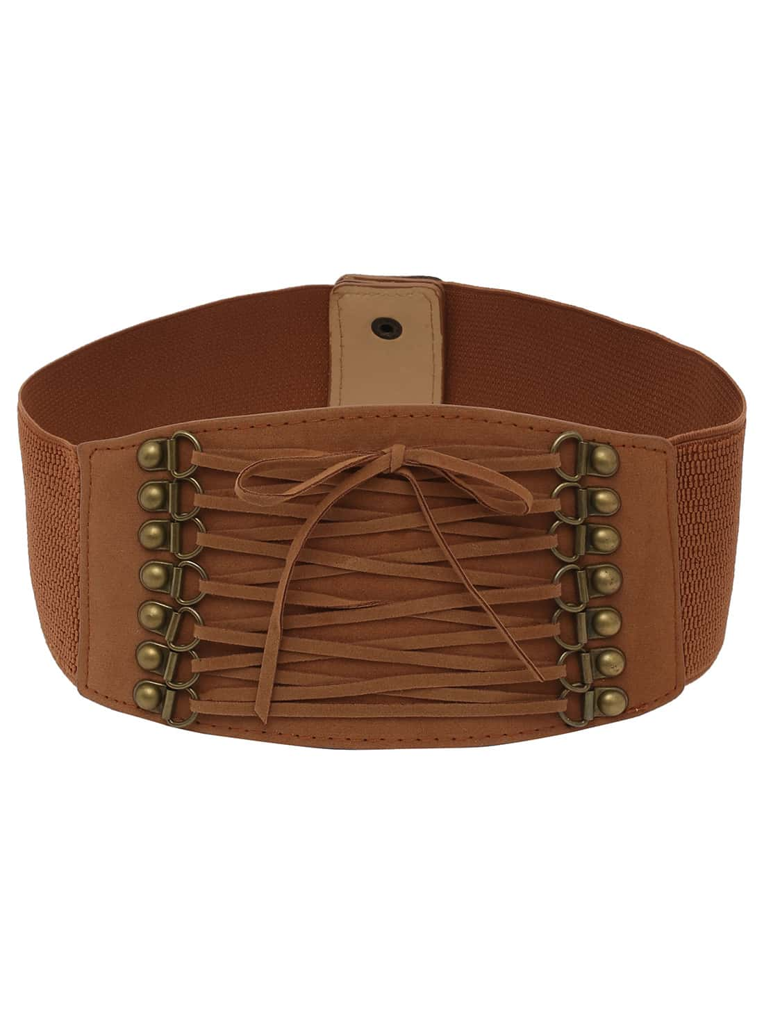 lace up front brown wide elastic beltfor romwe