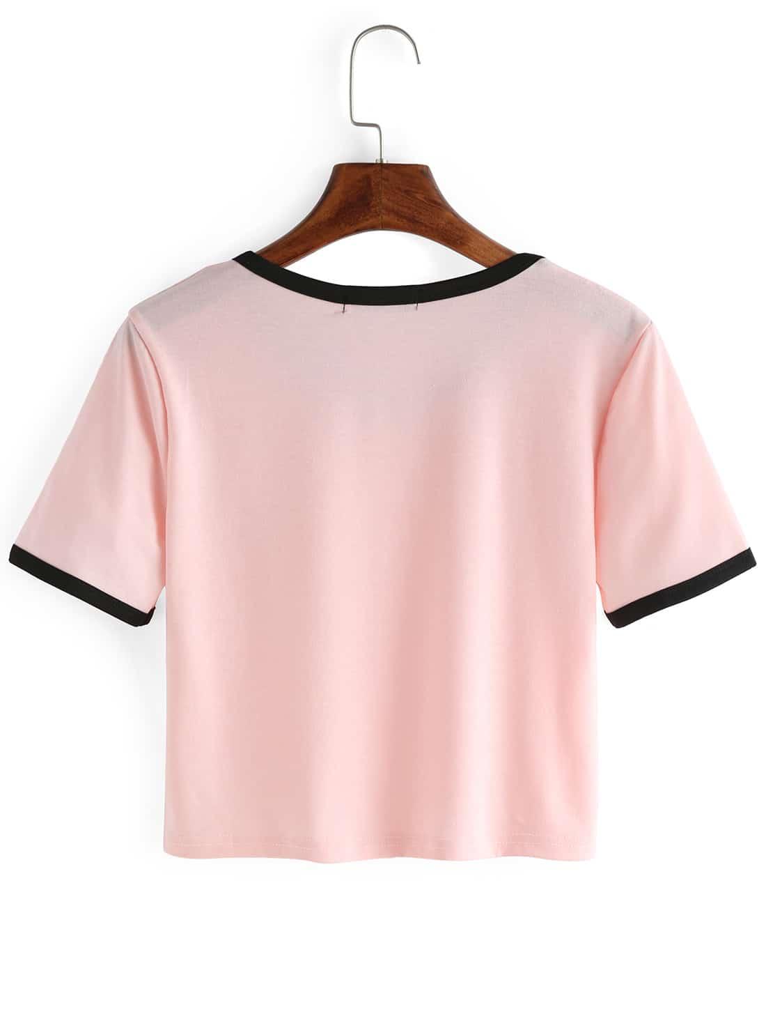 pink crew neck alien print crop t shirtfor women romwe. Black Bedroom Furniture Sets. Home Design Ideas