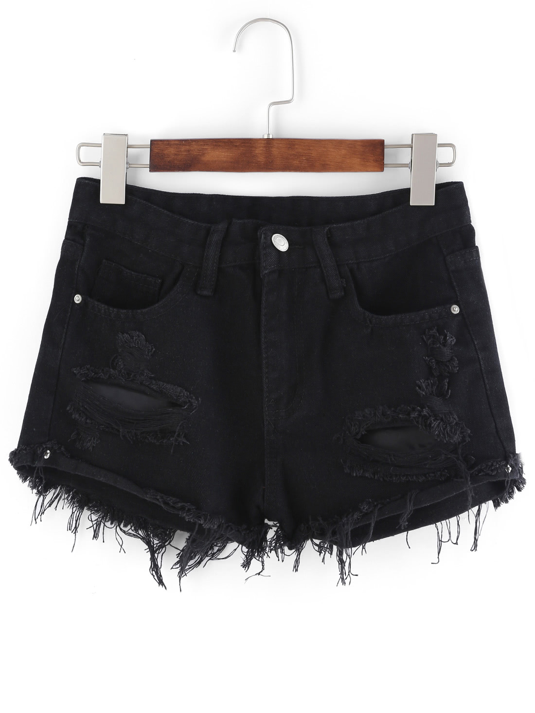 Frayed Black Denim Shorts